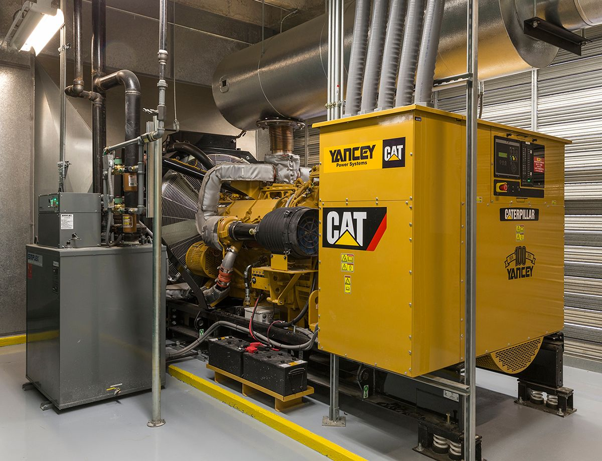 The Cat<sup>®</sup> C32 diesel generator set delivers emergency backup power for the life-safety systems and other operations at the 191-bed TRMC facility.