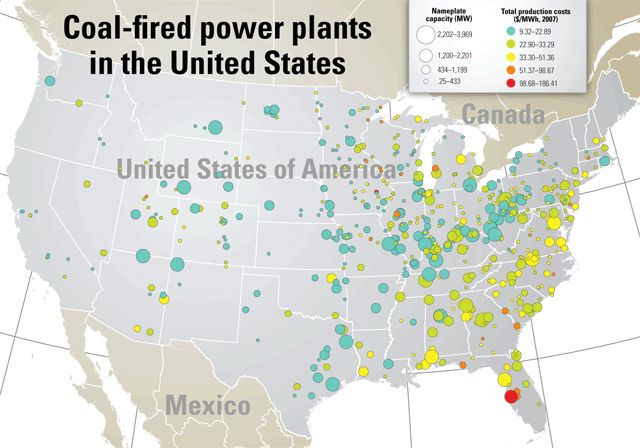 Infographic showing coal-fired power plants in the U.S.
