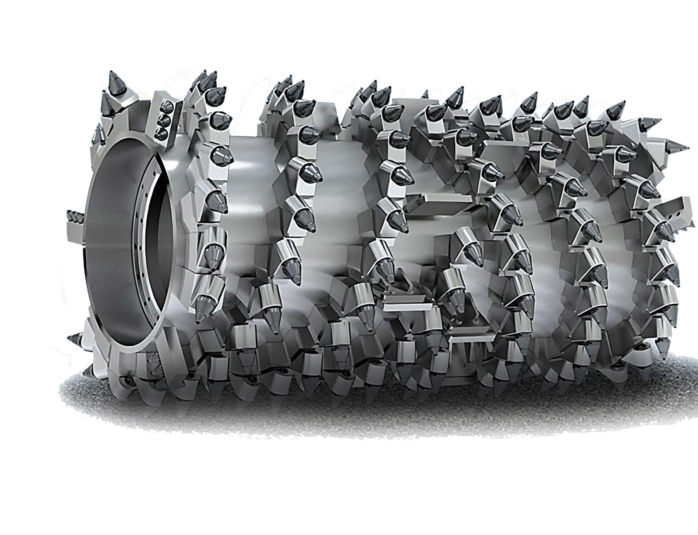 Bei Cat <sup>®</sup> Diamant-Fräsmeißeln wird die Spitze in einem hauseigenen Verfahren bei hohen Temperaturen aus polykristallinen Diamanten gepresst.