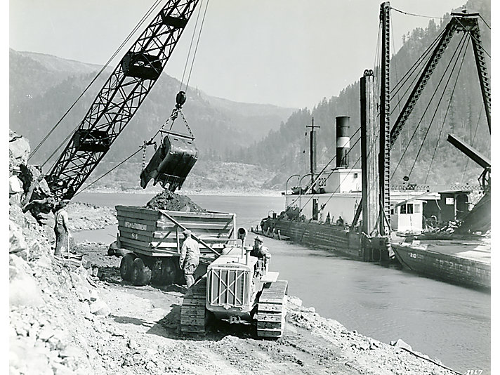 Caterpillar Diesel Seventy-Five track-type tractor working on the Bonneville Dam site in 1934.