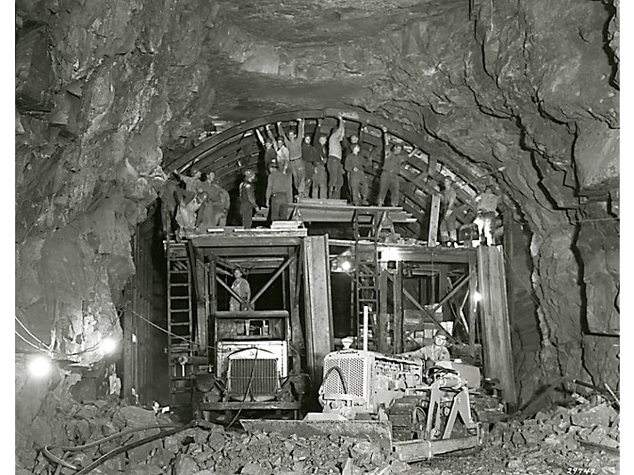 Cat® D4 dozer working in underground mine, 1938