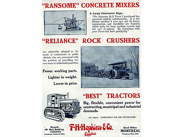 Advertisement for what would become the first Caterpillar dealer in Canada, 1924.
