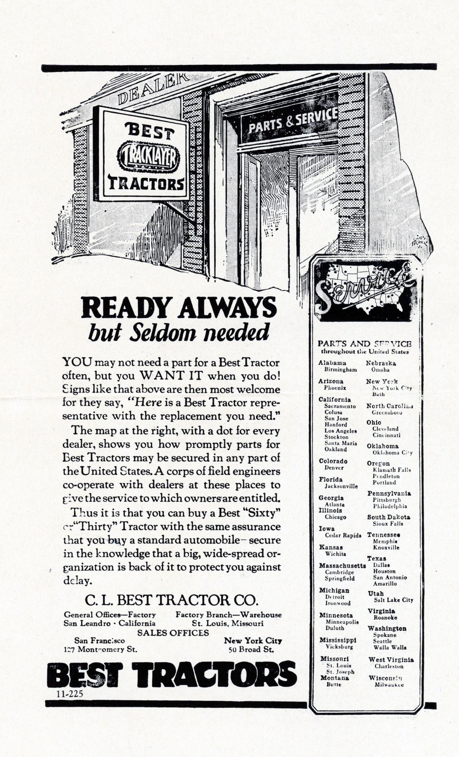C. L. Best Tractor Co., Print Advertisement, 1925.