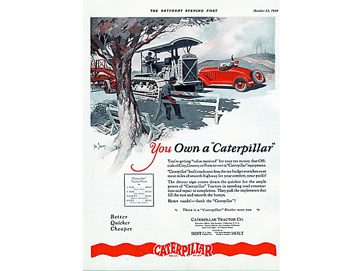 Caterpillar Tractor Co. advertisement, 1926