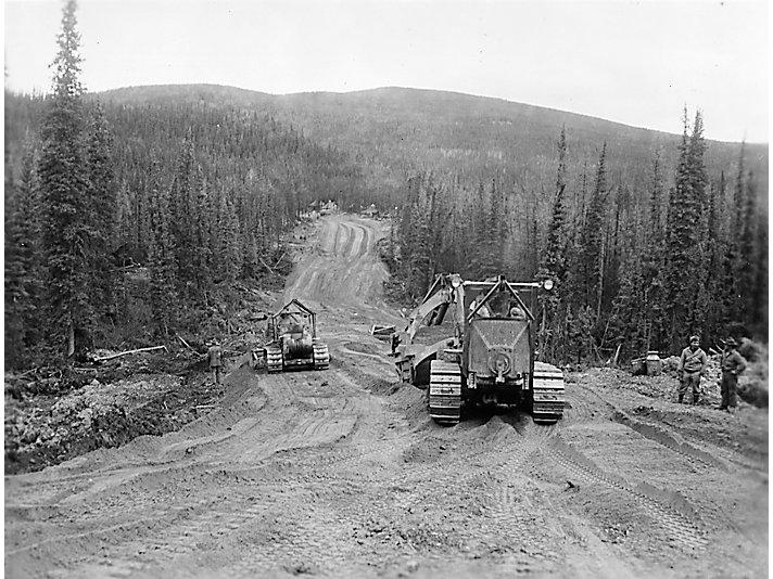 Construction of the Alaskan Highway in 1942.