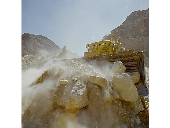 Cat® dozer moving boulders in Japan, c. 1961
