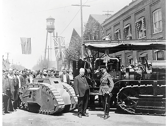 Benjamin Holt and General Swinton meet in Stockton, California, 1918