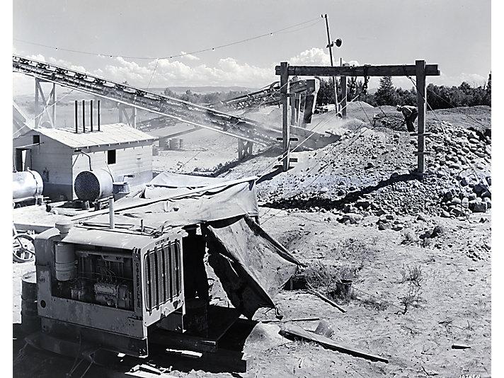 Caterpillar D7700 diesel engine powering a mine in c. 1939.