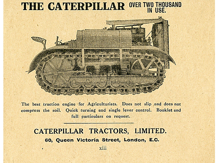 Holt Caterpillar dealer advertisement, 1922
