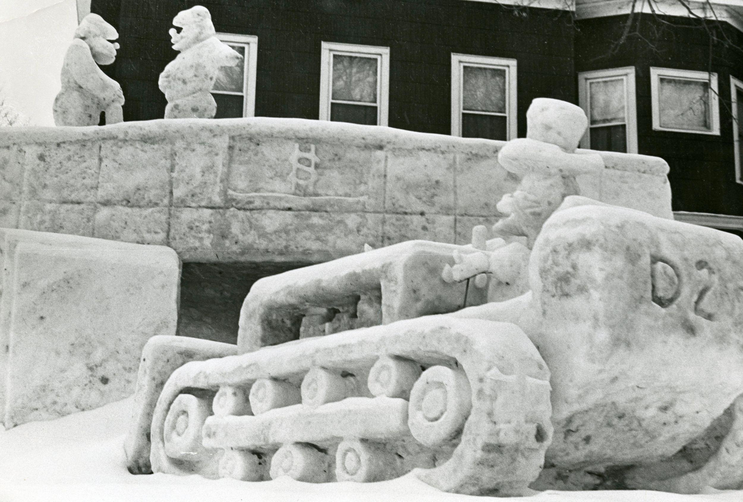 Caterpillar D2 Track-Type Tractor Snow Sculpture,