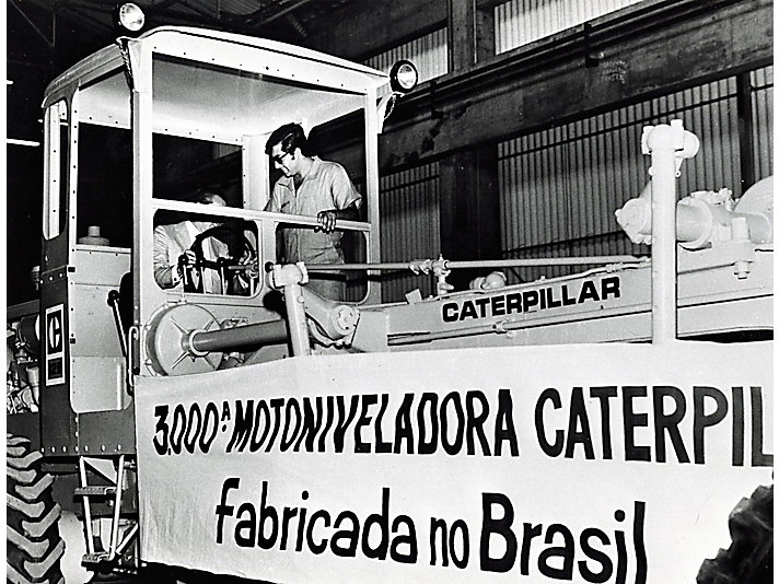 Caterpillar Motor Grader manufactured at the Sao Paulo, Brazil, plant, ca. 1960.
