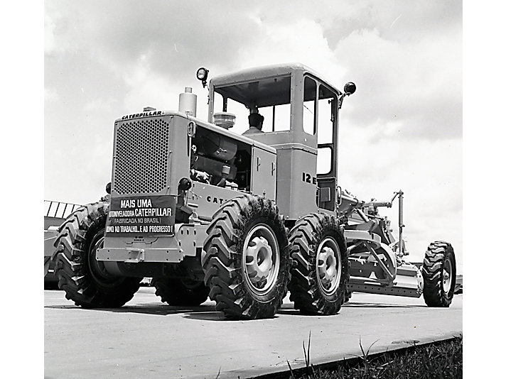 Cat motor grader at the Sao Paulo, Brazil Plant, ca. 1960
