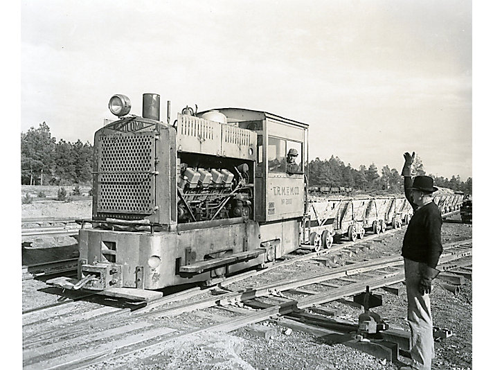 Caterpillar engine powering a diesel locomotive in c. 1935.