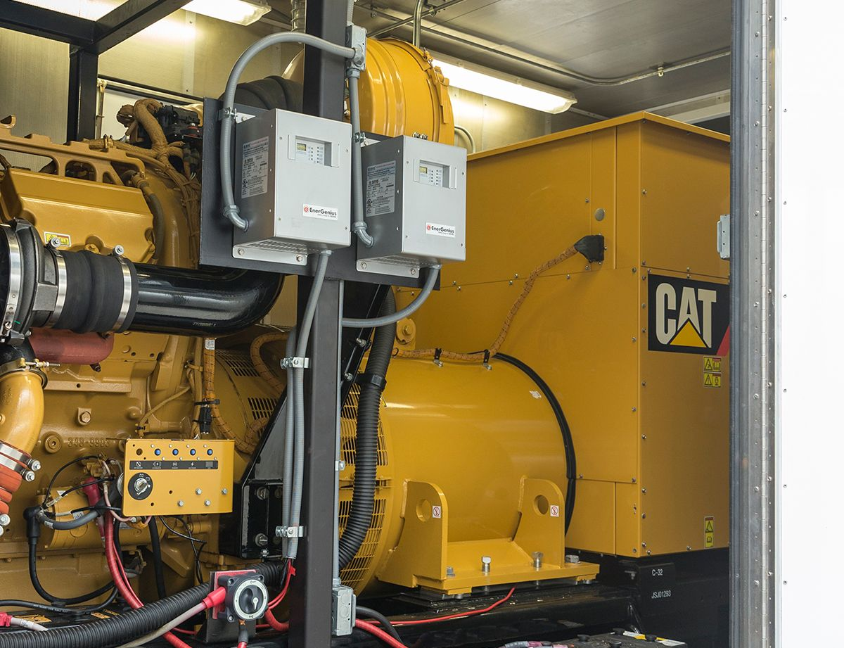 The backup system  includes three Cat C32 ACERT™ diesel generator sets and paralleling switchgear.