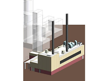 Figure 1: This 3D rendering from the design project is of the CHP facility adjacent to existing boiler house. All graphics courtesy: Stanley ConsultantsDesigning an actual CHP plant