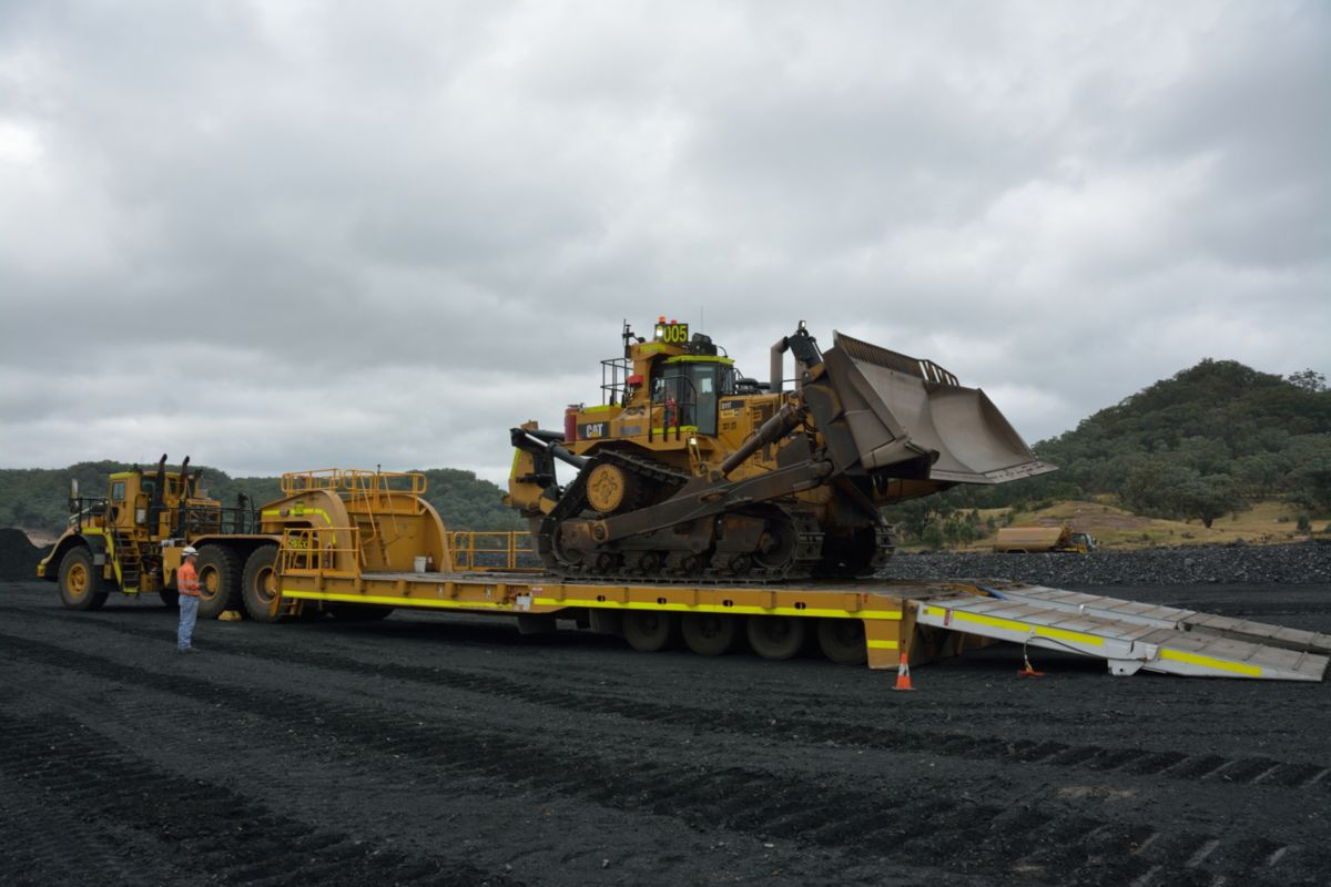 The Haulmax 162-ton capacity lowboy trailer is ideal for moving larger equipment throughout huge mines.