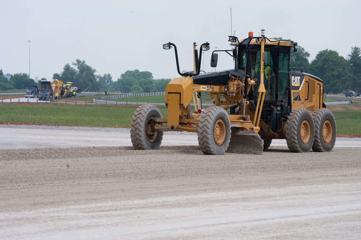 """During rough grading, the 3D AccuGrade™dozers worked to within tolerances of tenths of a foot,""says JD Weis.""Then machines equipped with 3D Total Station based Cat® AccuGrade systems were used to complete the more accurate grading, down to hundredths of a foot."""
