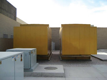 Provisions have been made for a third unit to the right of the two paralleled generators shown in this photo in case the client requires the capacity in the future.,