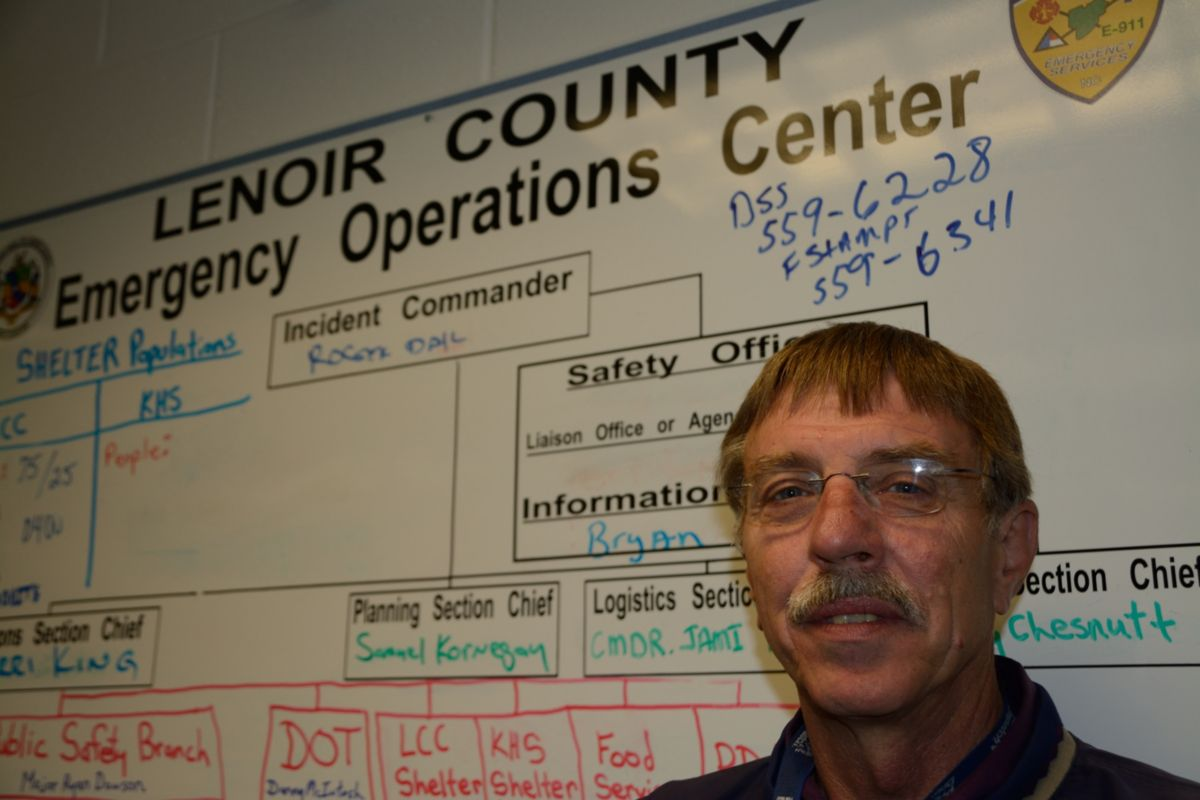 "An emergency shelter set up at nearby Lenoir Community College hosted more than 300 people during and after the hurricane. ""We could not have asked for a quicker response,"" says Roger Dail, emergency services director for Lenoir County."