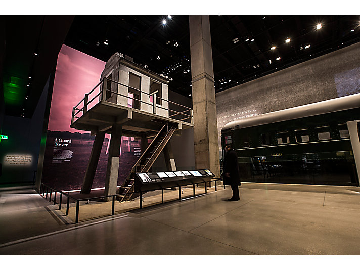 The museum was built around its largest objects - a segregated rail car and an Angola Prison guard tower.