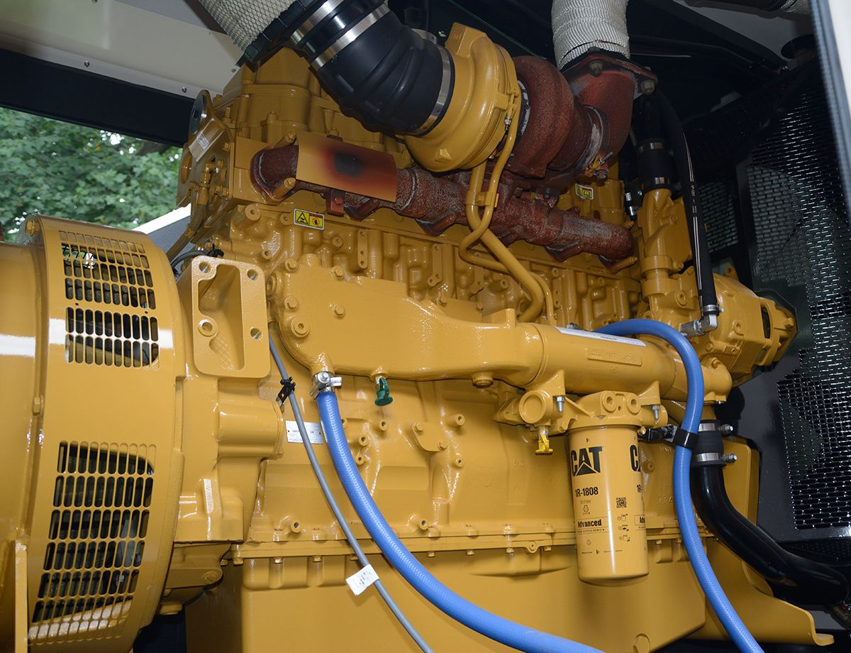 At Montalto, a 350 kW Cat C15 diesel generator set and accompanying automatic transfer switch (ATS) were installed in 2010, supplying backup power to the Robert H. Smith Center.