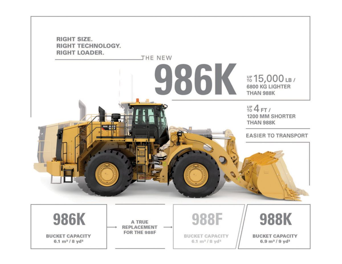 Boasting an 11 ton (10 tonne) payload, and weighing in at 49 tons, the 986K completes the larger end of the Cat wheel loader line-up.