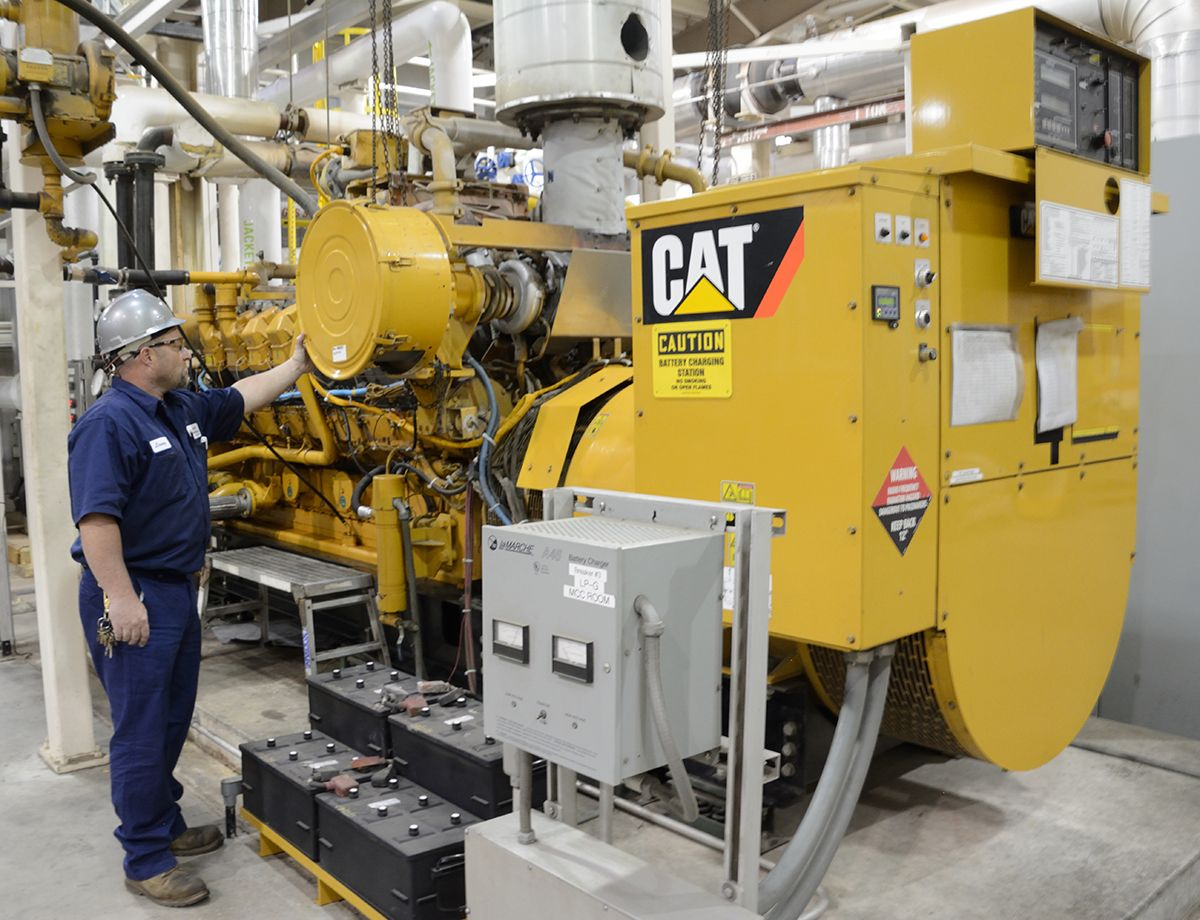 Three Cat G3516 generator sets produce 2.4 MW of power. A fourth serves as standby power for scheduled maintenance.