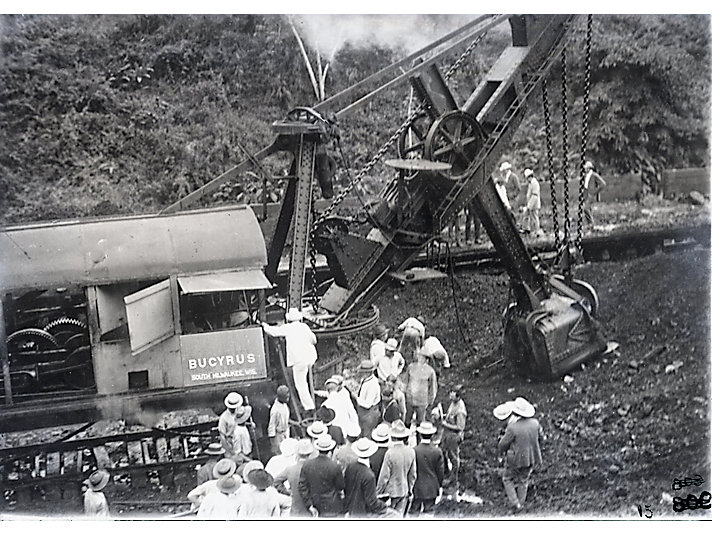 U.S. President Theodore Roosevelt sits on a Bucyrus shovel during his visit to the Panama Canal build site in 1906.