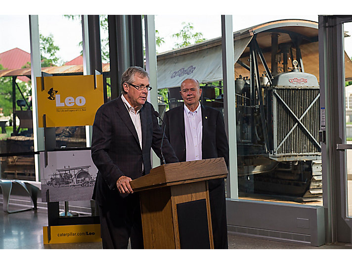 "Doug Oberhelman speaking at the opening of the ""Leo"" exhibit at the Doug Oberhelman Caterpillar Visitors Center."