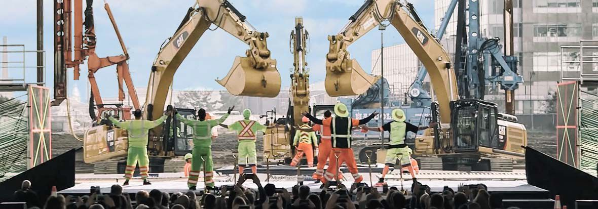 Cat® Excavators Dance for NBA Golden State Warriors Chase Center Arena Groundbreaking