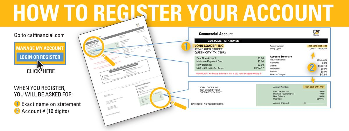 To register your Commercial Account you will need to provide the exact name on the statement and your 16-digit account number.