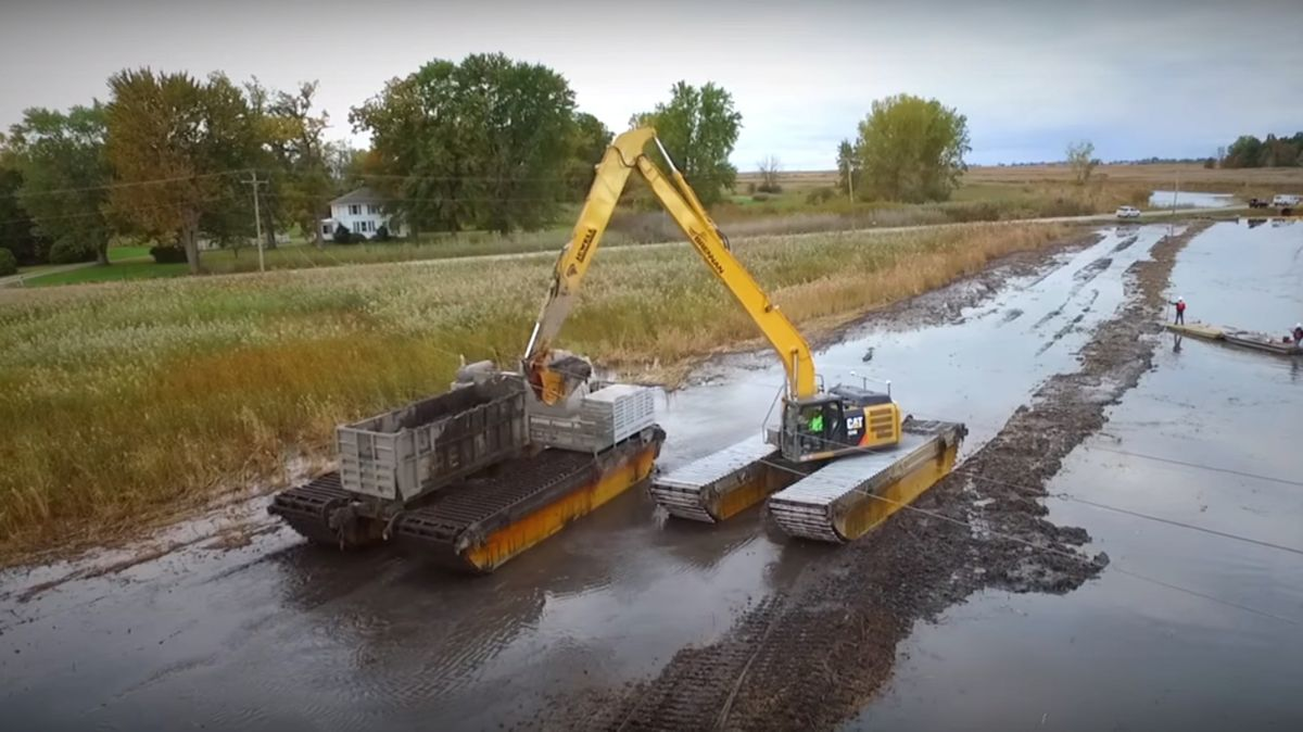 Amphibious excavators tread so lightly they can actually go where a person can't walk, and are able to work with minimal disturbance to sensitive wetlands.