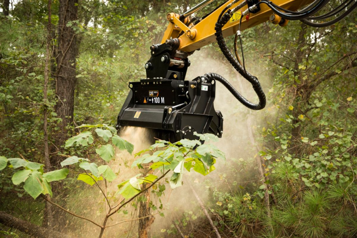 The new Cat® HM210 Mulcher is one of many hydro-mechanical attachments now available for mini excavators.