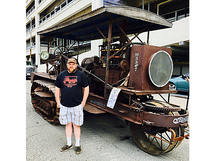 Justin Click with his 1918 Holt 75 tractor.