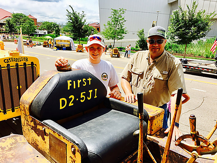 Sam and Blake Meeker with their 1938 Caterpillar D2 tractor.