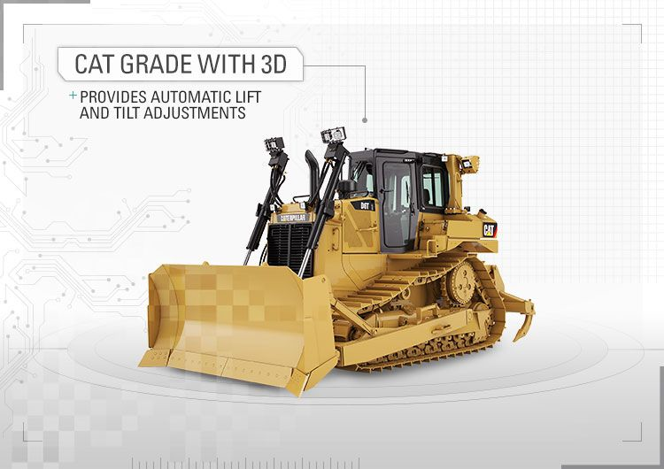 Cat<sup>®</sup> Grade with 3D provides automatic lift and tilt adjustments.