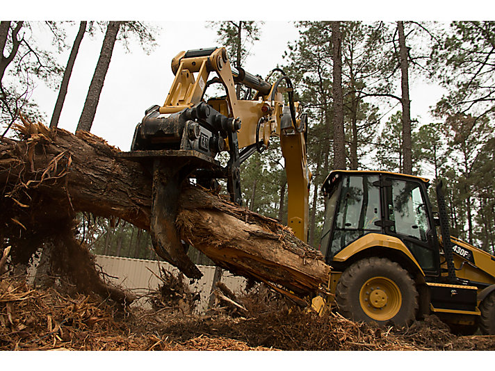 Cat® 420F2 Backhoe Loader with Thumb and Ripper in Working Application