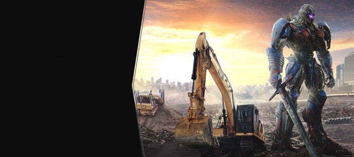 Caterpillar Excavator with Optimus Prime