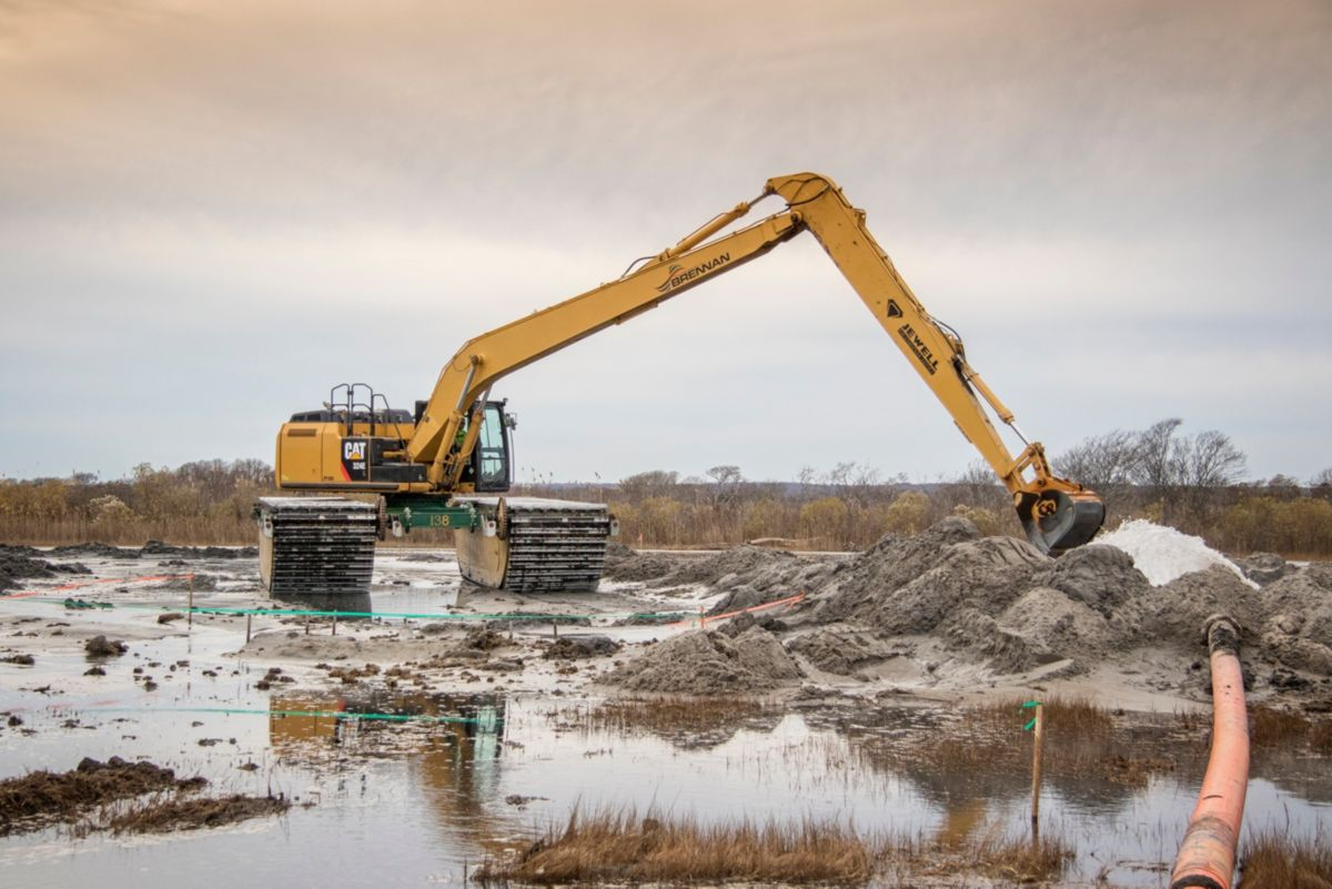 """The key to success here at Ninigret has been combining established technologies—such as hydraulic dredges with newer GPS technology on amphibious excavators—to enhance and bring back the environment."" -Andrew Timmis, J.F. Brennan director of business development"