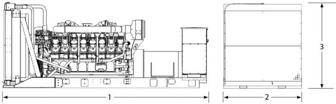 (1) 6377 mm (251.7 in)  (2) 2286 mm (90.0 in)  (3) 2367 mm (93.2 in)