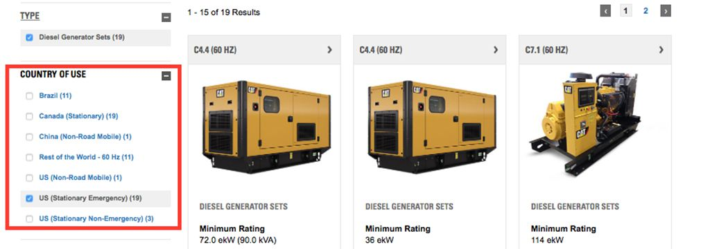 Caterpillar Simplifies Specifying of Power Solutions through New Website Search Capabilities