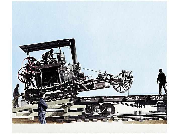 Colorized image of a Holt Caterpillar steam track-type tractor used to construct the Los Angeles Aqueduct, 1908.