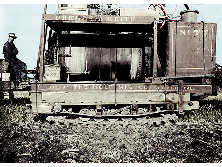 "Benjamin Holt's ""Caterpillar"" tracks on the first dozer."