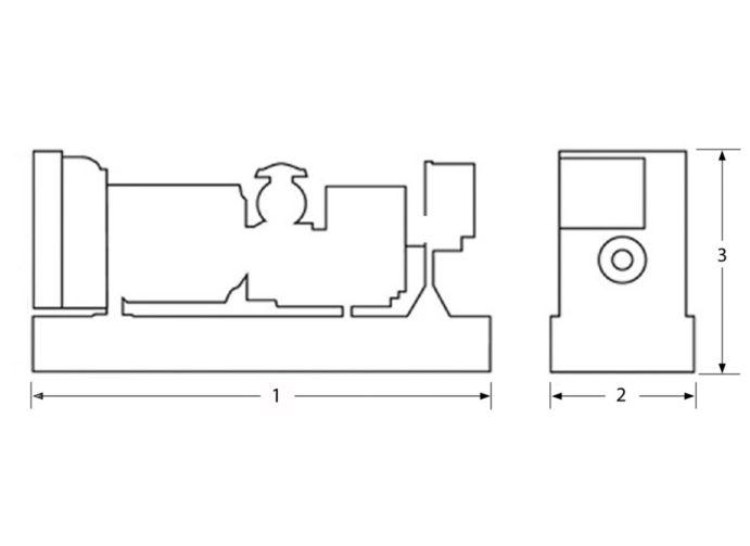 (1) 3830 mm (150.8 in)   (2) 1131 mm (44.5 in)   (3) 2068 mm (81.4 in)