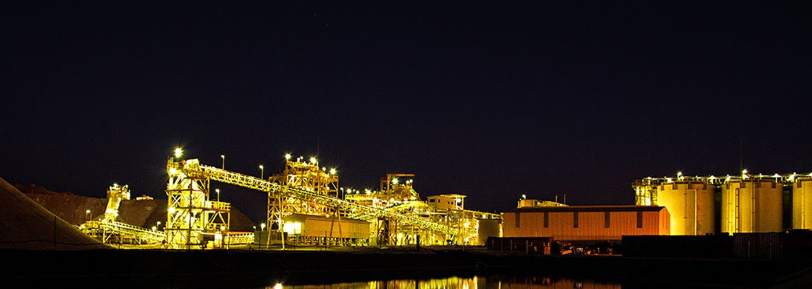 B2Gold mine at night, powered in part by Cat Solar Microgrid