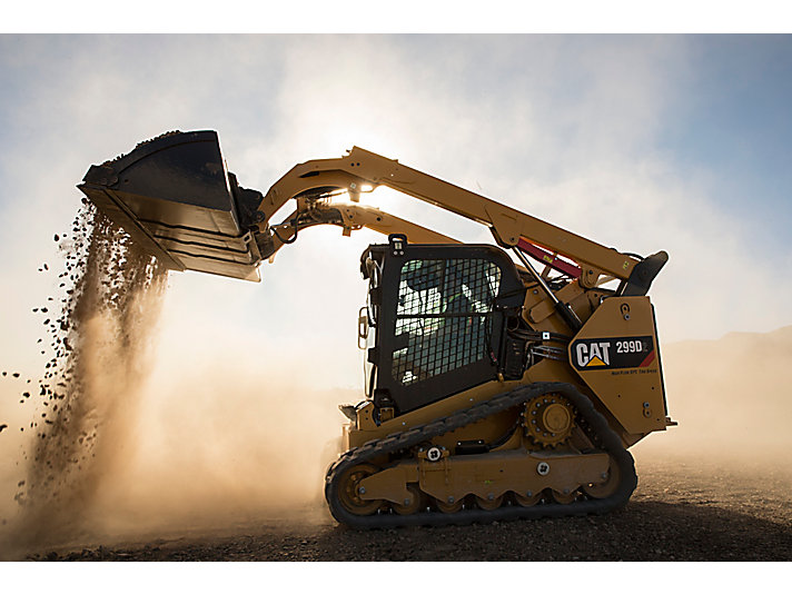 Cat® 299D2 Compact Track Loader with an Industrial Bucket at Work