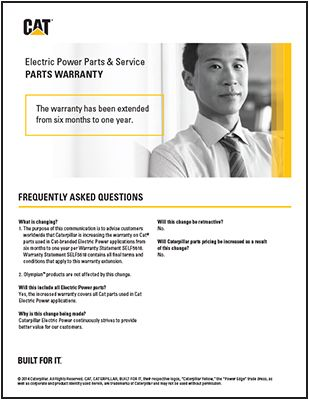 Cat Power Generation System Parts Warranty
