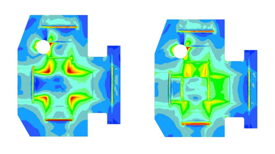 Stress concentrates at the corners of the legacy-style fluid end (left), increasing the risk of fatigue cracking. With Cat Cube Bore well stimulation technology (right), stress is distributed around the bore instead — reducing peak stress at concentration points by up to 40% and extending fluid end block life by 50% or more.