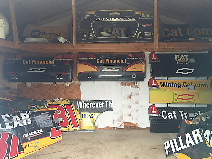 He got his first piece of scrap metal in 1999 when visiting Bill Davis Racing — the Cat team owner at the time. His collection has grown since then.
