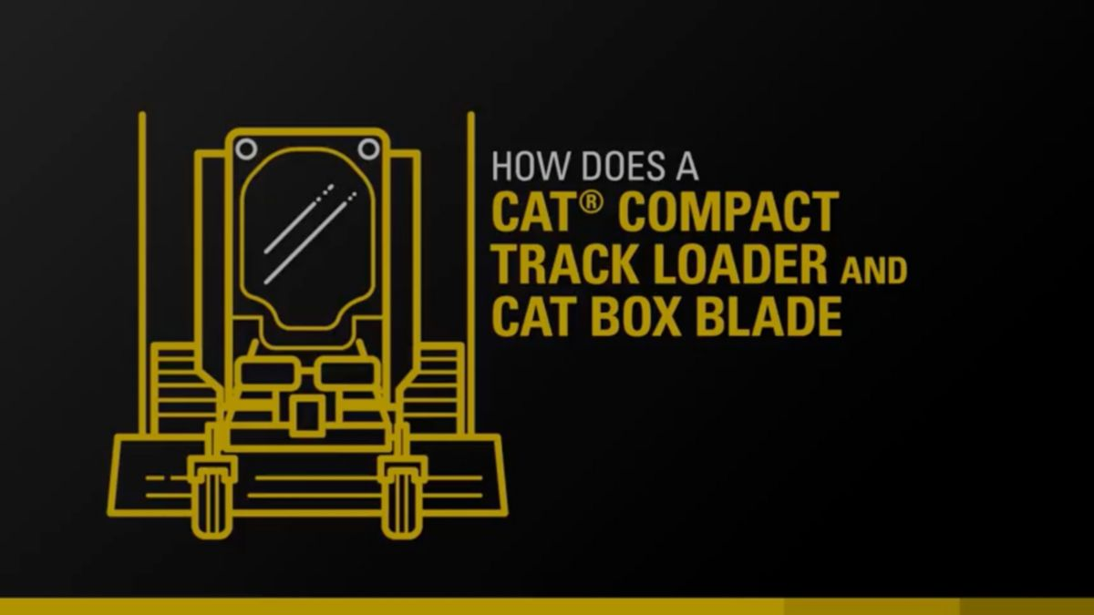 The Cat 299D2 Compact Track Loader equipped with the Cat Box Blade